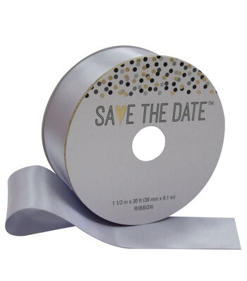 Save the Date 1.5'' X 30' Ribbon-Purple Satin