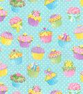 Glitter Flannel Fabric -Cupcakes on Aqua