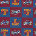 NBA Cleveland Cavaliers Cotton Fabric-Championship Logo Block