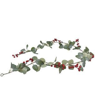 Handmade Holiday Christmas 66'' Green Eucalyptus & Red Berry Garland