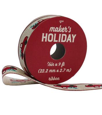 Maker's Holiday Woodland Lodge Ribbon 7/8''x9'-Red Trucks on Natural