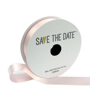 Save the Date Satin Ribbon 7/8''x30'-Blush