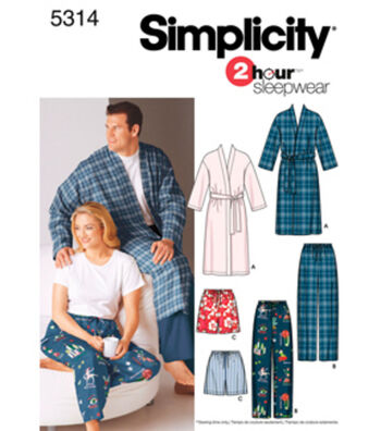 Simplicity Pattern 5314BB Adult Plus Size Sleepwear-Size XL-XXL-XXXL