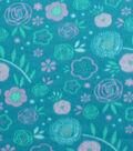 Blizzard Fleece Fabric 59\u0027\u0027-Teal & Purple Floral