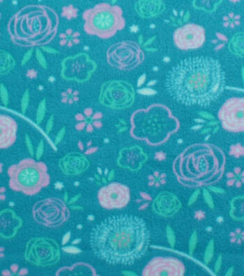Blizzard Fleece Fabric 59''-Teal & Purple Floral