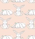 Nursery Flannel Fabric -Bunnies in Line on Coral