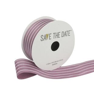 """Save the Date 1.5"""" x 15ft Ribbon-Mauve White Stripe"""