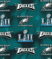 Philadelphia Eagles Super Bowl 52 Championship Cotton Fabric, , hi-res