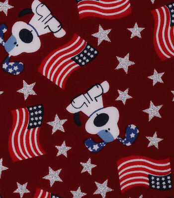 Patriotic Cotton Fabric 43''-Glitter Star, American Flag & Puppy