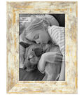 Wood Single Image Picture Frame 5\u0027\u0027x7\u0027\u0027-Fallon White & Gold Rustic Wash