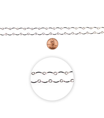 "Blue Moon Small Wave Link Chain-30"" Silver"