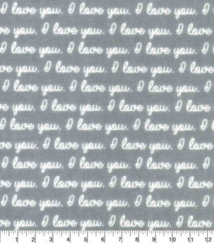 Nursery Cotton Fabric-Grey I Love You Words