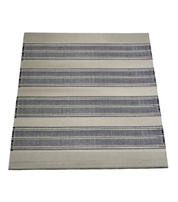 Seaport Handwoven Polyester Rug-Natural & Blue Stripe