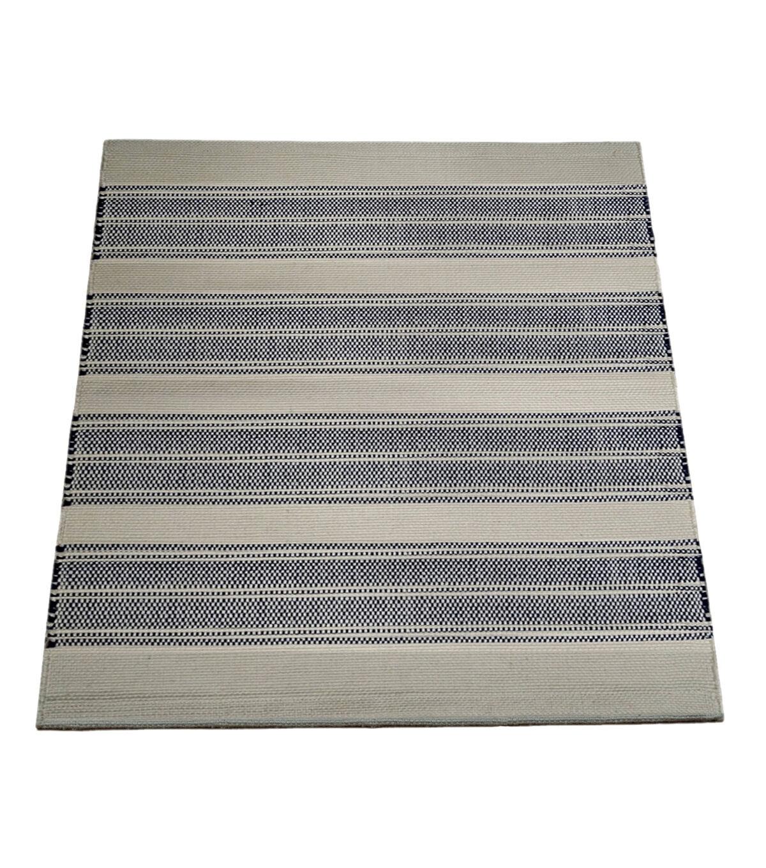 Seaport Handwoven Polyester Rug Natural U0026 Blue Stripe
