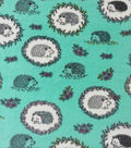 Anti-Pill Plush Fleece Fabric-Hedgehog On Teal