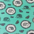 Anti-Pill Plush Fleece Fabric-Hedgehogs on Teal