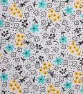 1930\u0027s Cotton Fabric 43\u0022-Floral Sketch White