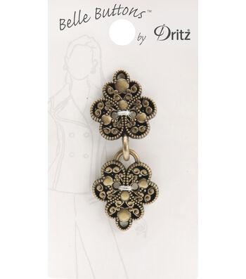 Belle Button-Metal Antique Gold Filagree Clasp
