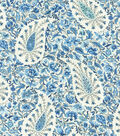Waverly Upholstery 8x8 Fabric Swatch-Paisley Verveine/Bluejay