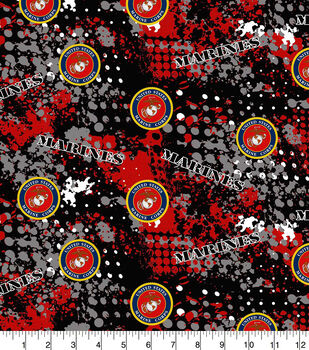Marines Cotton Fabric-Abstract Geo Logo