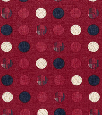 Patriotic Cotton Fabric 43''-Patriotic Dots on Red