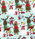 Snuggle Flannel Fabric -Animals In Scarfs