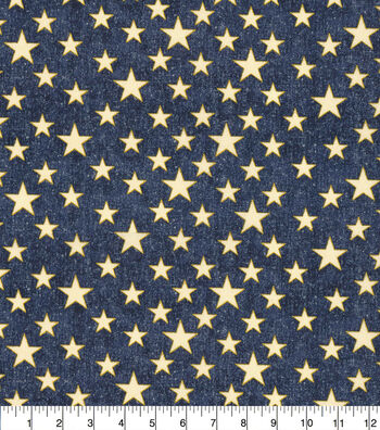 Patriotic Cotton Fabric-Blue Glitter Heart of America