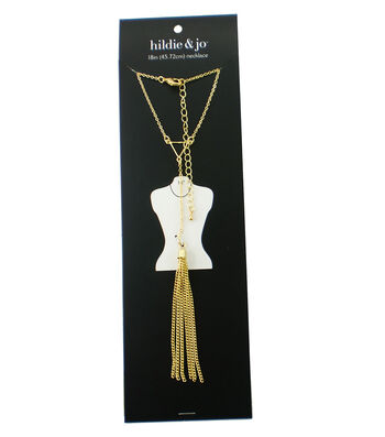 hildie & jo 18'' Necklace with Tassel & Open Triangle-Gold