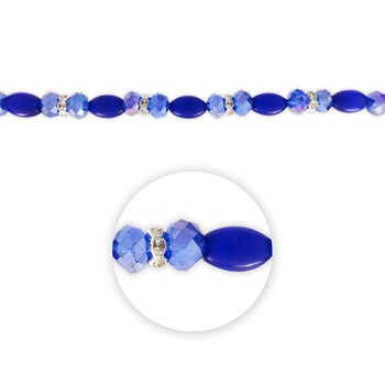 """Blue Moon Beads 7"""" Crystal Strand, Cat's Eye with Metal Spacers, Royal Blue"""