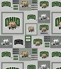 Ohio University Bobcats Fleece Fabric -Gray Block