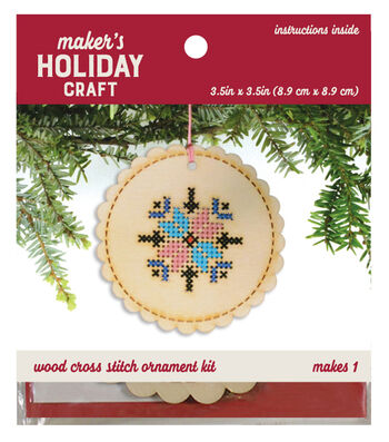 Wood Cross Stitch Ornament Kit-Snowflake