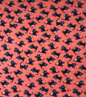 "Halloween Cotton Interlock Fabric 57""-Staring Cats"