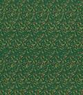 Keepsake Calico Holiday Cotton Fabric 43\u0022-Green Metallic Holly