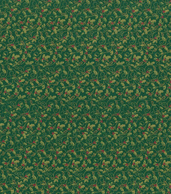 Holiday Cotton Fabric -Green Metallic Holly