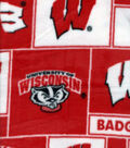 University of Wisconsin Badgers Fleece Fabric -Block