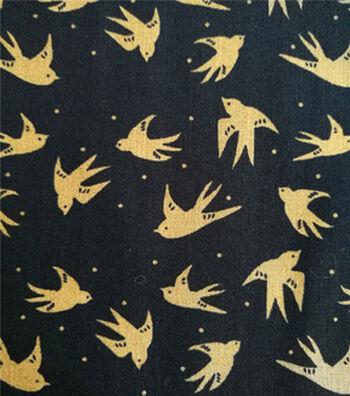 Shirting Cotton Fabric 57''-Birds on Black