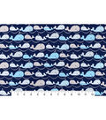 Snuggle Flannel Fabric -Whales