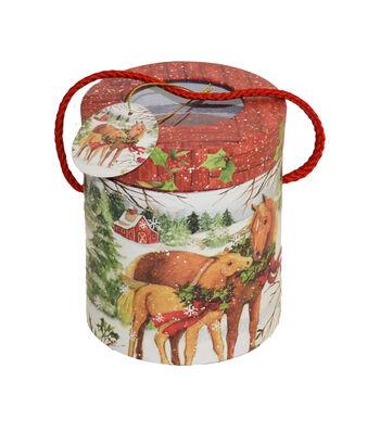 Maker's Holiday Christmas Cylinder Storage Box-Christmas Horses