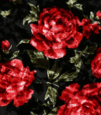 """Stretch Panne Velour Fabric 58""""-Black & red Floral"""