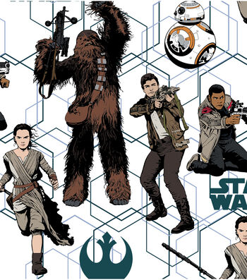 """Star Wars: The Force Awakens Cotton Fabric 44""""-Heroes"""