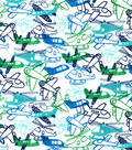 Snuggle Flannel Fabric -Blue & Green Sketched Planes