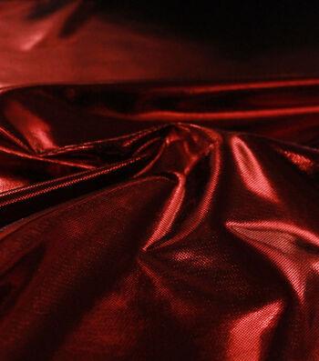 Metallic Apparel Bodre Fabric 44''-Red Foil Dot