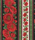 Premium Cotton Fabric-Bold Poppy Border Stripe