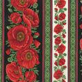 Premium Cotton Fabric-Bold Poppies Border Stripes