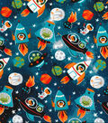 Novelty Cotton Fabric -Rockets in Space Glow
