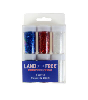 Land of the Free Glitter 6/Pkg-Red, White & Blue