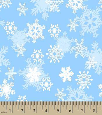Blue Snowflakes Print Fabric