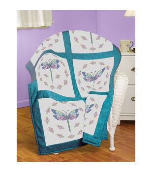 Janlynn Dragonfly Quilt Block Stamped Cross Stitch Kit