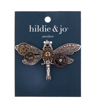 hildie & jo Zinc Alloy, Iron & Acrylic Dragonfly with Gears Pendant