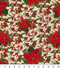 Christmas Cotton Fabric-Poinsettia, Holly Leaves & Berries
